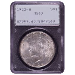 1922-S $1 Peace Silver Dollar Coin PCGS MS63