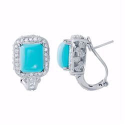 14KT White Gold 5.14ctw Turquoise and Diamond Earrings