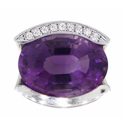 14KT White Gold 13.01ctw Amethyst and Diamond Ring