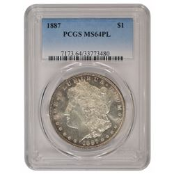 1887 $1 Morgan Silver Dollar Coin PCGS MS64PL