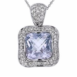 14KT White Gold 6.22ct Amethyst and Diamond Pendant with Chain