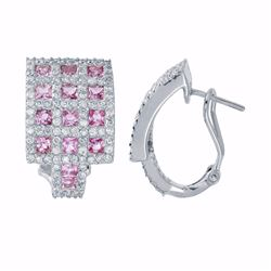 18KT White Gold 2.39ctw Pink Sapphire and Diamond Earrings