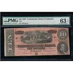 1864 $10 Confederate Sates of America Note PMG 63EPQ