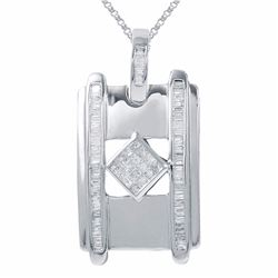 14KT White Gold 1.06ctw Diamond Pendant with Chain