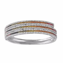 14KT White Gold 4.34ctw Multi Color Sapphire and Diamond Bracelet