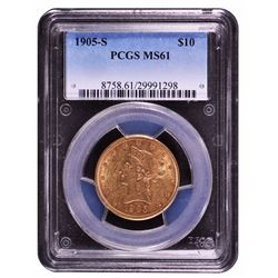 1905-S $10 Liberty Head Eagle Gold Coin PCGS MS61