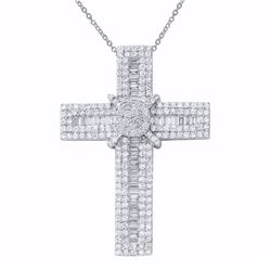 14KT White Gold 3.60ctw Diamond Cross Pendant with Chain