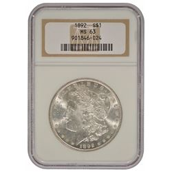 1892 $1 Morgan Silver Dollar Coin PCGS MS63