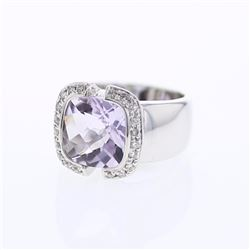 14KT White Gold 5.54ct Amethyst and Diamond Ring
