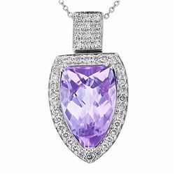 18KT White Gold 6.10ct Amethyst and Diamond Pendant with Chain