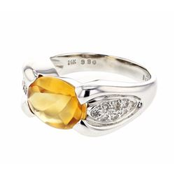 14KT White Gold 3.30ct Citrine and Diamond Ring