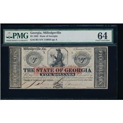 1862 $5 Georgia Obsolete Note PMG 64