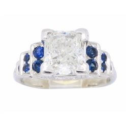 14KT White Gold 1.40ct Diamond and Blue Sapphire Ring