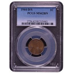 1944-D/S Lincoln Cent PCGS MS62BN