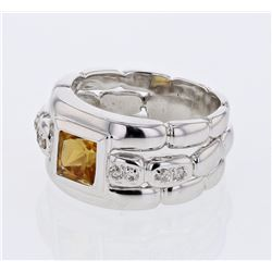 18KT White Gold 1.12ct Citrine and Diamond Ring