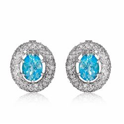 14KT White Gold 2.79ctw Blue Topaz and Diamond Earrings
