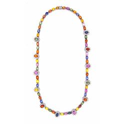 14KT White Gold 37.90ctw Multi Color Sapphire and Diamond Necklace