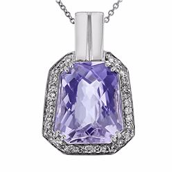 14KT White Gold 8.00ct Amethyst and Diamond Pendant with Chain