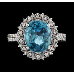 14KT White Gold 7.16ct Blue Zircon and Diamond Ring