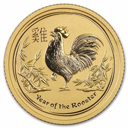 2017 Australia 1/10 oz Lunar Rooster Gold Coin