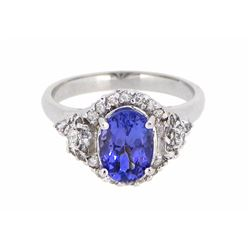 14KT White Gold 1.60ct Tanzanite and Diamond Ring