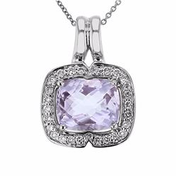 14KT White Gold 3.80ct Amethyst and Diamond Pendant with Chain