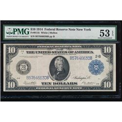 1914 $10 New York Federal Reserve Note PMG 53EPQ