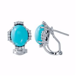 14KT White Gold 3.99ctw Turquoise and Diamond Earrings