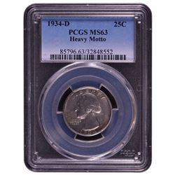 1934-D Washington Quarter PCGS MS63 Heavy Motto
