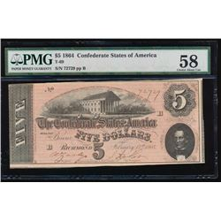 1864 $5 Confederate States of America Note PMG 58