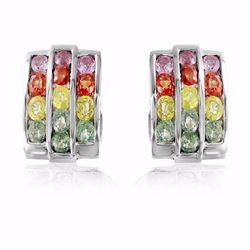 18KT White Gold 6.64ctw Multi Color Sapphire Earrings
