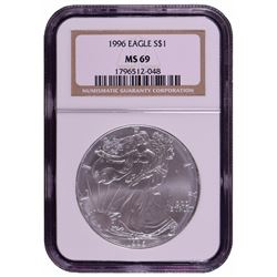 1996 $1 American Silver Eagle Coin NGC MS69