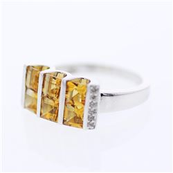 14KT White Gold 1.79ctw Citrine and Diamond Ring