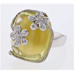 14KT White Gold 27.86ct Lemon Quartz and Diamond Ring