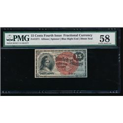 15 Cents Fourth Issue Fractional Note PMG 58