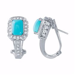 14KT White Gold 2.57ctw Turquoise and Diamond Earrings