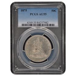 1875 Seated Liberty Half Dollar Coin PCGS AU55