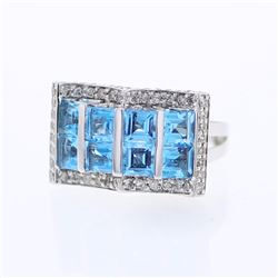 14KT White Gold 3.40ctw Blue Topaz and Diamond Ring