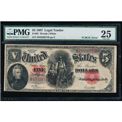 1907 $5 Legal Tender Note PMG 25