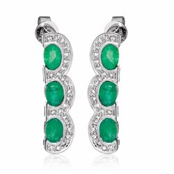 18KT White Gold 2.64ctw Emerald and Diamond Earrings