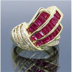 14KT Yellow Gold Ruby and Diamond Ring