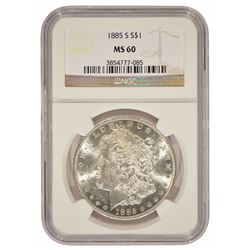 1885-S $1 Morgan Silver Dollar Coin NGC MS60