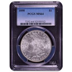1898 $1 Morgan Silver Dollar Coin PCGS MS64