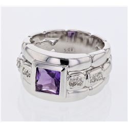 14KT White Gold 1.06ct Amethyst and Diamond Ring