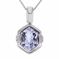14KT White Gold 4.77ct Amethyst and Diamond Pendant with Chain