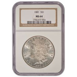 1881 $1 Morgan Silver Dollar Coin NGC MS64