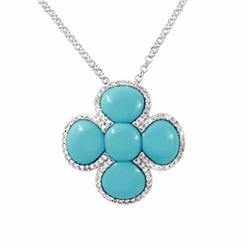 14KT White Gold 6.34ctw Turquoise and Diamond Pendant with Chain