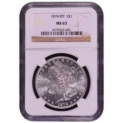 1878 8TF $1 Morgan Silver Dollar Coin NGC MS63