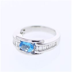 14KT White Gold 0.75ct Blue Topaz and Diamond Ring