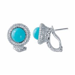 14KT White Gold 2.32ctw Turquoise and Diamond Earrings